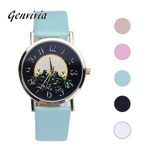 Genvivia montre femme luxury Rural Style Women Fashion Collocation Leather Watch womens watches