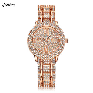 Women Watch Gold Rhinestone Crystal Analog Quartz Wristwatch Lady dress