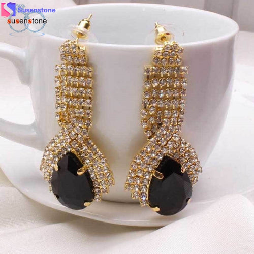 SUSENSTONE 1Pair Women Luxury Elegant Rhinestone Big Drop Earrings Vintage Earings