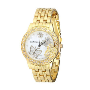 Luxury Fashion Women Watches Ladies Rose Gold Sliver Watch Stainless Crystal