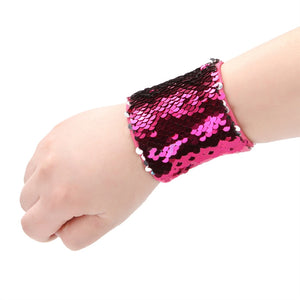 Reversible Sequin Charm Slap Wristband Strap  Women  Slap Bracelet for Kids Girls Boys