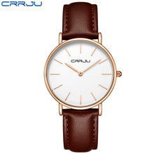 Load image into Gallery viewer, CRRJU Lady Sport Casual Quartz Rhinestone Watches Women Luxury Classical Leather
