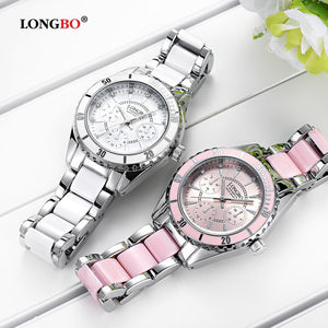 LONGBO Brand Fashion Watch Women Luxury Ceramic And Alloy Bracelet  Wristwatch
