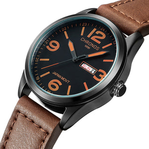 Luxury Watch Men Watch Date Week Leather Men's Watch