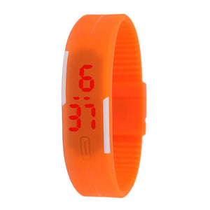 6 Color Children Led Silicone Color Moment Sports Bracelets Band Watch
