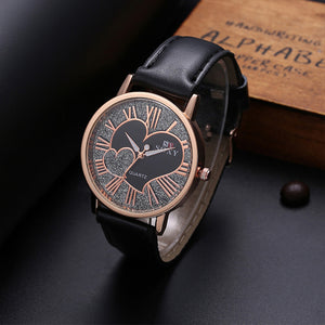 Soxy Brand Watch Women Fashion Leather Quartz Watch Luxury Gold Leather Strap Heart-Shaped Clock