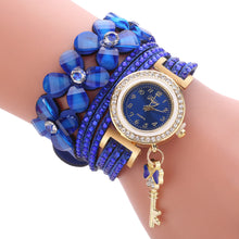 Load image into Gallery viewer, Women Bracelet Watch Fashion Luxury Gold Key Pendant Crystal Dress Quartz Watch Casual Watches