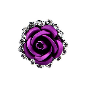 Fashion Alloy Crystal Rhinestone Ear Stud Earrings for Women Girl Rose Flower Red Blue Optional Gift