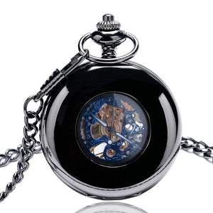 Men's Pocket Watch, Black Mechanical Hand Wind Women Mens Pocket Watch, Gift for Men