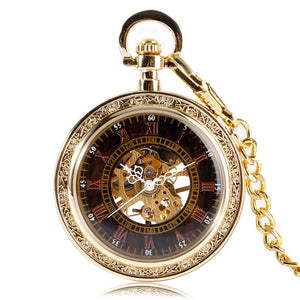 Luxury Gold Women Mens Pocket Watch, Antique Jewelry Mechanical Pocket Watch, Unique Gift for Men