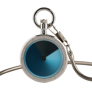 Novel Silver Swirl Design Quartz Pocket Watch for Men, Vintage Clock