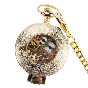 Men's Pocket Watch, Classic Steampunk Bronze Stainless Watch, Gift for Men