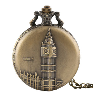 Men's Pocket Watch, Antique Bronze Big Ben London Quartz Men Pocket Watch, Gift for Men