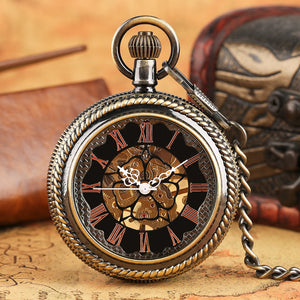 Men's Pocket Watch, Bronze Mechanical Hand Wind Mens Fashion Pocket Watch Gifts, Gift for Men
