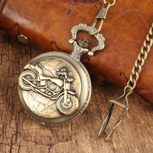 Bronze Motorcycle Thick Chain Pocket Watch Necklace Pendant