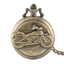 Load image into Gallery viewer, Bronze Motorcycle Thick Chain Pocket Watch Necklace Pendant
