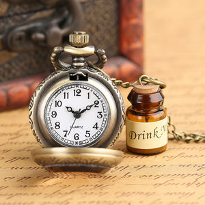Men's Pocket Watch, Vintage Glass Pocket Watch Necklace, Gift for Men