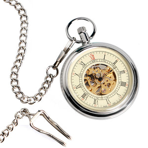 Open Face Self Silver Pocket Watch for Men Women, Automatic Mechanical  Gift