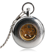 Load image into Gallery viewer, Open Face Self Silver Pocket Watch for Men Women, Automatic Mechanical  Gift