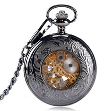 Load image into Gallery viewer, Luxury Pocket Watch, Hollow Flower Steampunk Pocket Watch for Men, Winding