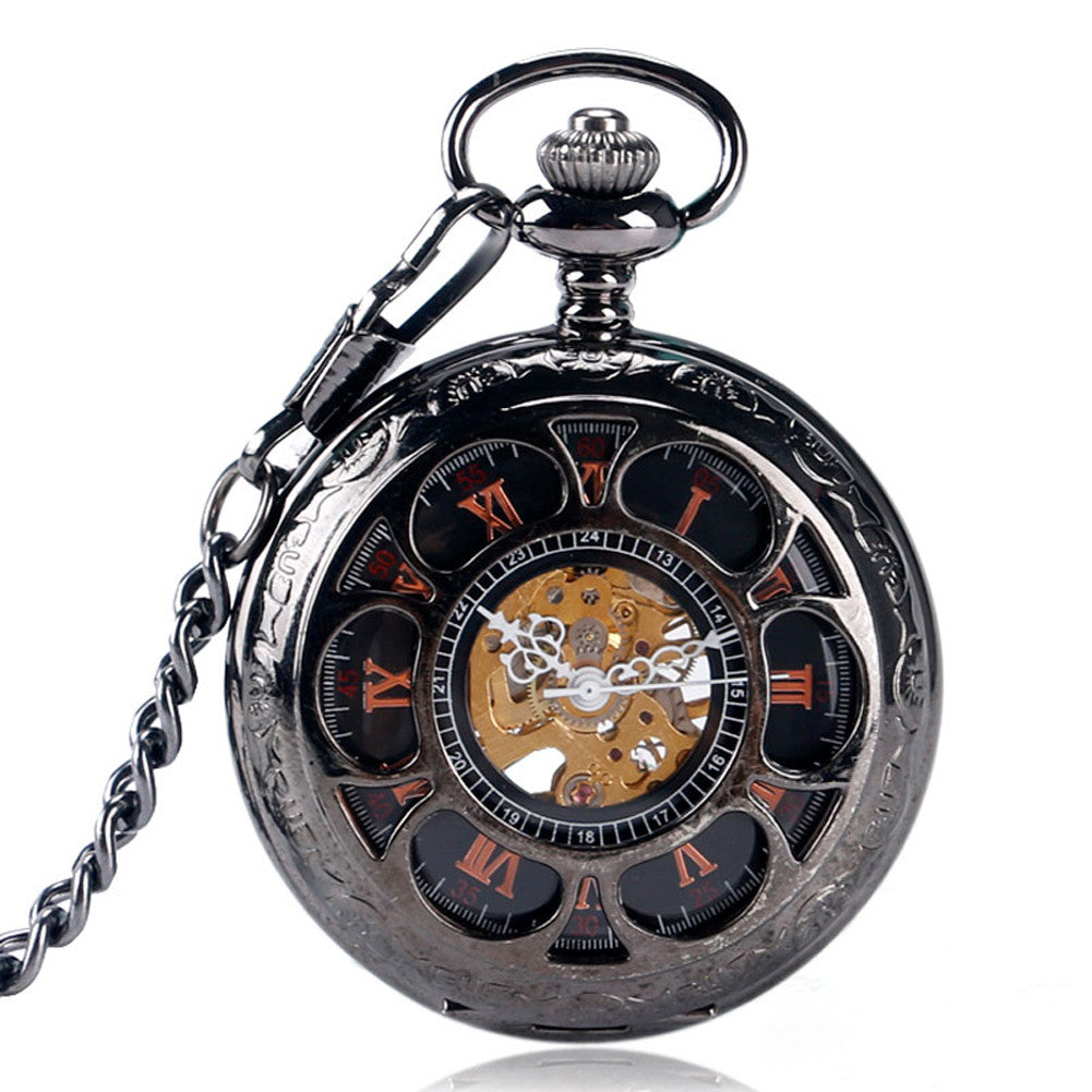 Luxury Pocket Watch, Hollow Flower Steampunk Pocket Watch for Men, Winding
