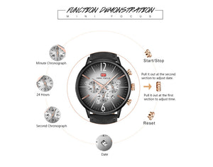 Men Watches 3ATM Water-resistant Quartz Wristwatch Relogio Musculino Chronograph