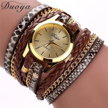 Load image into Gallery viewer, Chic Luxury Leopard Pattern Watch for Women Leather Braided Bracelet