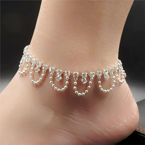 Sexy Anklets Shiny  Adjustable Ankle Bracelet with Clasp Decorative Sandal Bracelet for Women Girls