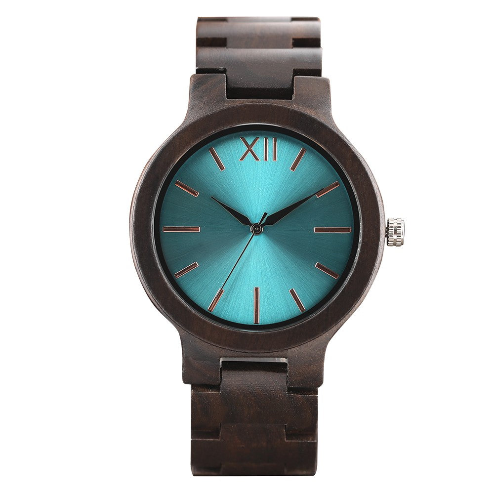 Wood Watch Men Creative Watches Fashion Casual Women Watches-Blue