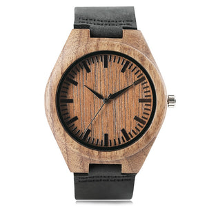 Men Watches Simple Minimalist Wood Wristwatch Male Bamboo Wristwatch-Brown