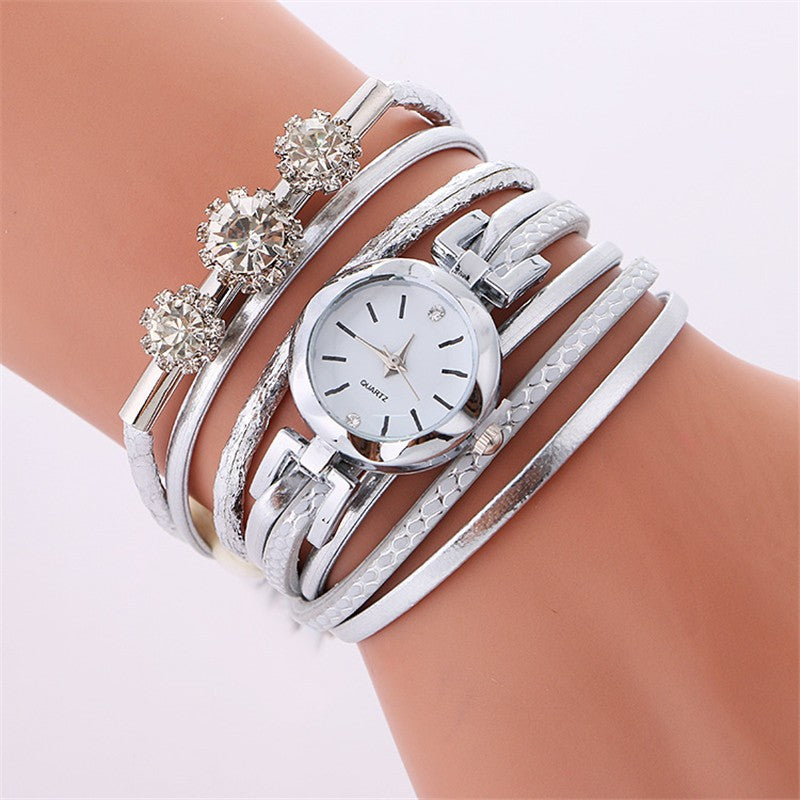 Fashion Luxury Rhinestone Leather Bracelet Watch Women