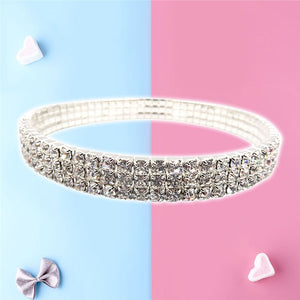 Sexy Anklets Shiny  Stretch Tennis Ankle Bracelet Decorative Three Tier Elastic Bracelet Women Girls
