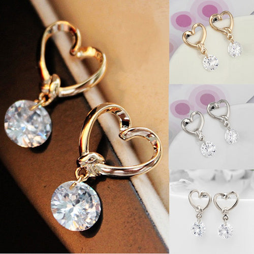 Women Fashion Luxury Crystal  Zircon  Stud  Heart  Earrings  Elegant Jewelry