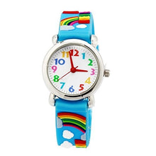 Load image into Gallery viewer, Boys Girls Children  Analog Wrist Watch Cartoon 3D Band  Silicone (Blue Rainbow)