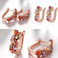 Load image into Gallery viewer, Luxury Female Stud Earrings Rose Gold Color AAA Cubic Zircon CZ Crystal