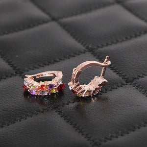 Luxury Female Stud Earrings Rose Gold Color AAA Cubic Zircon CZ Crystal