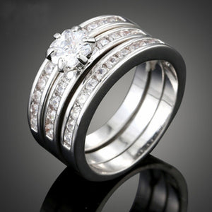 Luxury Women's Ring Sets 3 Layers Rings Group Rings Zircon Wedding Rings Fashion Accessories