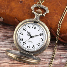 Load image into Gallery viewer, Pocket Watch Gift Quartz Men Watches Bronze Chain Mens Gifts