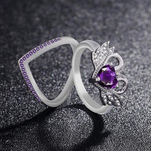 Load image into Gallery viewer, Fashion Luxury Swan Engagement Rings Set for Women Heart Red Zircon Wedding Ring US Size 5 12