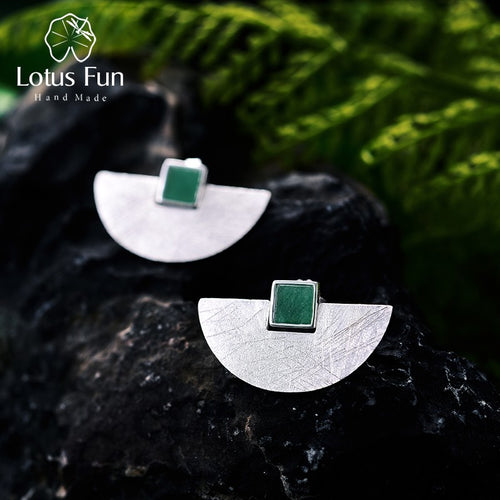 Sterling Silver Natural Stone Handmade Fine Jewelry and Simple Fashion Stud Earrings