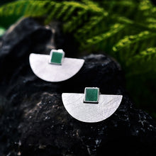 Load image into Gallery viewer, Sterling Silver Natural Stone Handmade Fine Jewelry and Simple Fashion Stud Earrings
