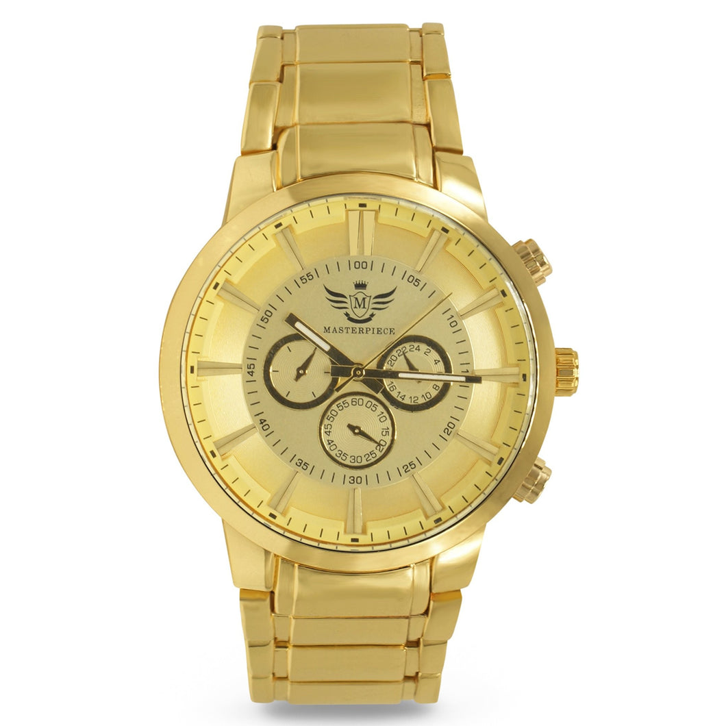 Gold Glossy 3-subdial Executive Classic Mens Watch