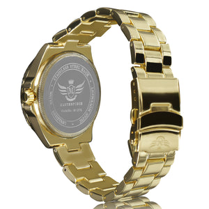 Gold Date Window Matte Bezel Executive Mens Watch