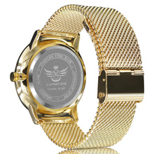 Load image into Gallery viewer, Gold Slim Case Mesh Bracelet Executive Mens Watch