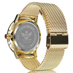Gold Slim Case Mesh Bracelet Executive Mens Watch