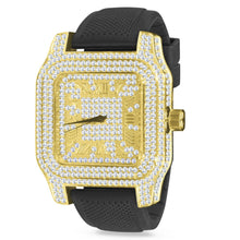 Load image into Gallery viewer, Twotone Roman Numeral Square face Mens Black Silicone Band Watch