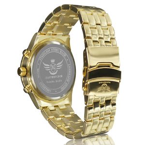 Gold Latice Bezel Executive Classic Mens Watch
