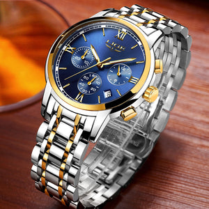 Stainless Steel Men Watches 3ATM Water-resistant Quartz Watch Luminous Sport