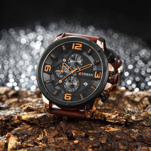 Load image into Gallery viewer, Leather Men Watches 1ATM Life Water-resistant Quartz