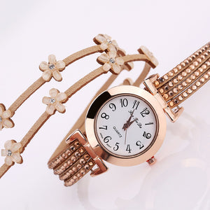 Luxury Women's Bracelet Watch, Round Case Quartz Analog Wrist Watch